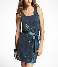 Express Sequin Sleveless Party Dress With Sash Sz XS NWT $98.00 Style 7795624