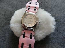 Rumours Quartz Ladies Watch with a Pink and Black Leather Band