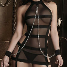1Set Mesh Perspective Sexy Lingerie Halter Striped Bandage Role Play Costume