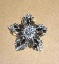D&E Juliana Bright Shining Star Pin in Black & Clear Rhinestones