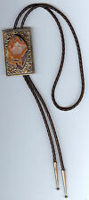 JO STAFINBIL GLORIOUS DRYHEAD AGATE CRYSTAL & STERLING SILVER BOLO TIE