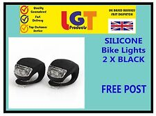 2 X BLACK LED SILICONE BIKE BICYCLE CYCLE FRONT / REAR CAMPING BACKPACK LIGHT