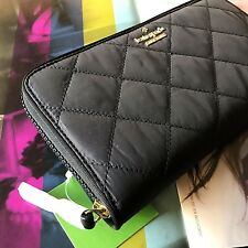 NWT Kate Spade Black Quilted Ridge Street Maia Large Travel Wallet Zip Around