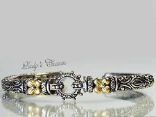 High End Couture Barbara Bixby Cuff Sterling Silver 18K Gold Bracelet 6-1/4""