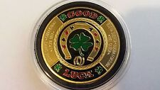 1 OZ Good Luck 4-leaf Clover Poker Chip 24K Gold Plated Iron Bullion Art Round