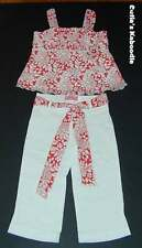 NWT BABY NAY PINK TANGERINE Daisy Duke 2pc Red Flower Top White Pants Set 5