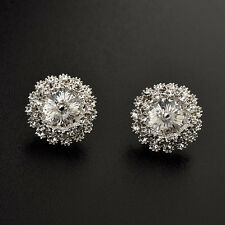 LOVELY 18K WHITE GOLD PLATED GENUINE CLEAR SWAROVSKI CRYSTAL ROUND STUD EARRINGS
