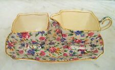 "VINTAGE ROYAL WINTON GRIMWADES ""OLD COTTAGE CHINTZ"" 3PC SUGAR, CREAMER SET"