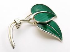 Sterling Silver Gilt and Enamel Brooch by  HANS MYHRE of NORWAY   leaf design