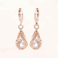 Clear Crystal in Golden Filigree Teardrop Cage Earrings Pierced Dangle Hoops