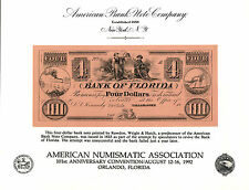 1992 ABNCo  Souvenir Card - 18-- Bank of Florida $4.00 - Tallahassee - SO103