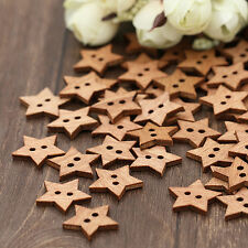 Pleasing Funky 100Pcs DIY Star Wooden Button Scrapbook Craft Sewing Buttons