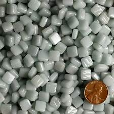 8mm Mosaic Glass Tiles - 2 Ounces About 87 Tiles - Light Gray