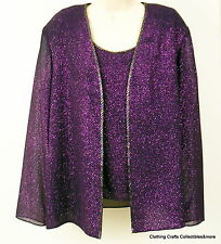 Evening Deep Purple Top Jacket Womens 10P 2 pc Christmas Holiday Sparkle NWT