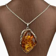 Baltic Silver Plated Big Drop Resin Faux Amber Chain Link Charm Pendant Necklace