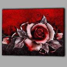 Abstract Red Rose Canvas A2 Large Wall Art Big Gift Leaves Ribbon Flower New