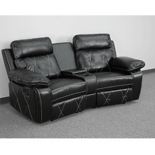 Reel Black Leather Home Theater 2-Seat Recliner Unit with Curved Cup Holders