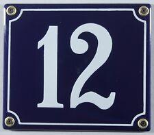 """Blaue Emaille Hausnummer """"12"""" 14x12 cm Hausnummernschild sofort lieferbar Schild"""