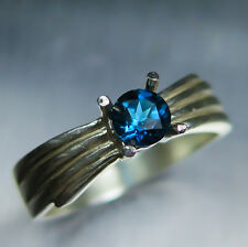 3.30cts Natural Imperial topaz concave cut Sterling 925 silver engagement ring