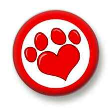 Love Heart Paw Print 1 Inch / 25mm Pin Button Badge Dogs Puppies Cats Animals