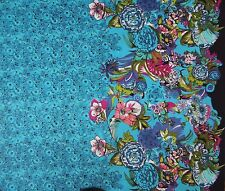 """Blue Cotton Fabric Floral Printed Designer 42""""d Dressmaking Fabric By 1 Metre"""