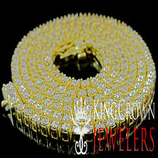 Mens Real Genuine Diamond Yellow Gold Finish 1 Row Necklace Chain 3.5 MM 26 Inch