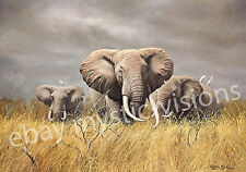 POWER OF THE SERENGETI Charles Frace CANVAS Signed & Numbered w/coa Elephant Art