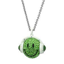 Halskette Kette Smiley Smilie mit Kopfhörer DJ Strass grün