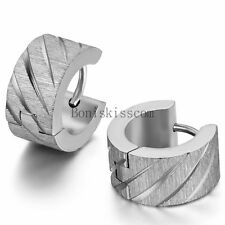 Men's Women's Charm Knurling Shiny Stainless Steel Wide Hoop Huggie Earrings