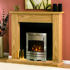 ELECTRIC OAK WOOD SURROUND SILVER BLACK LED FLAME FIRE WALL FIREPLACE SUITE 48""