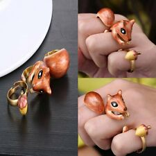 3pcs/set Fashion Gold Plated Eyes Cute Squirrel Animal Rings Xmas Gift Jewellery