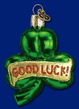 LUCKY SHAMROCK OLD WORLD CHRISTMAS IRISH ST PATTY'S DAY GLASS ORNAMENT 36046