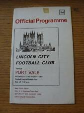27/08/1969 Lincoln City v Port Vale  (Slight Sellotape Mark On Front). Item In v