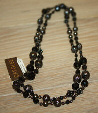 Vintage Carolee Black Long Beaded Necklace New Free Shipping