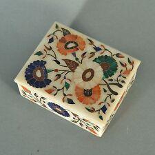 Boîte en pierre decor fleures Marqueterie 11x8,5x4 cm