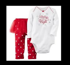 NWT Carters Baby Girl MERRY & BRIGHT - 2pc Bodysuit & Tutu Pant Set - 6 MONTHS