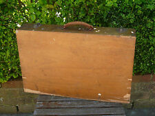 Vintage Wooden Suitcase Briefcase Tool Chest Artists Case Wood Leather Handle