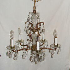 "Vintage Ornate Brass & Cyrstal Chandelier Crystal Prisms 5 Light 20"" (bx24)"
