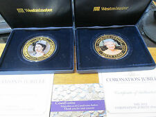 COOKS ISLAND 2012 & 2013 5oz $5 DIAMOND JUBILEE 65mm GOLD PLATED COINS box/coa