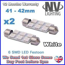 2 X LED LIGHT BULBS T10 FESTOON T10 41MM 42MM- 6SMD - 5050 6 SMD WHITE