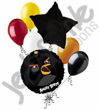 7 pc Black Bomb Angry Birds Balloon Bouquet Party Decoration Video Game Movie