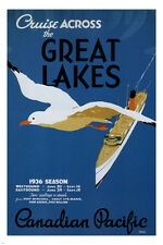 Cruise across the Great Lakes VINTAGE TRAVEL POSTER Canada 1936 24X36 rare