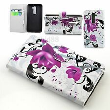 Flower Paint Flip Phone Wallet Leather Protective Cover Case For LG G2 D802