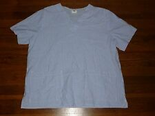 Unisex Scrub Top Action Line Blue White Striped Large Medical Uniform Stained J