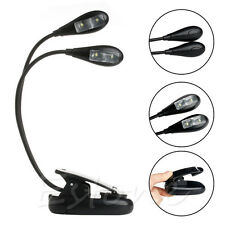 2 bras flexibles 4 LED Clip-on lampe Pour Piano Music Stand Livre Reading Light