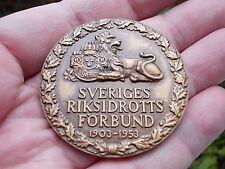 Sweden federal Athletics 1953 Lion 50mm. SCANDINAVIAN medallion medal