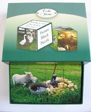 WOODEN BLOCK PUZZLE 6 SIDED CUBE PICS REAL LIFE FARM GOAT COW PIG DONKEY CHOOKS