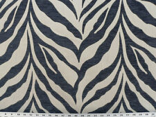 Drapery Upholstery Fabric Chenille Jacquard Animal Zebra Stripes - Denim / Ivory