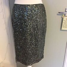 Fabulous Green Sequinned Ladies Pencil Skirt Per Una Size 12