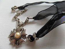 STEAMPUNK GOTHIC SILVER MEDAL CHOKER - BLACK RIBBON new gift pouch
